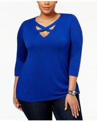 INC International Concepts | Blue Plus Size Crisscross-neckline Top | Lyst