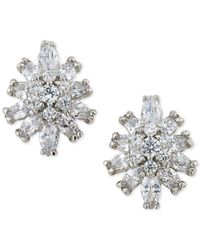 Carolee | Metallic Silver-tone Crystal Starburst Stud Clip-on Earrings | Lyst