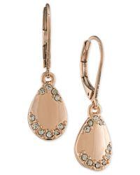 Carolee   Metallic Rose Gold-tone And Crystal Teardrop Drop Earrings   Lyst