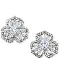 Carolee   Metallic Silver-tone Crystal Cluster Flower Stud Earrings   Lyst