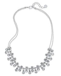 Charter Club - Metallic Silver-tone Crystal Double Strand Necklace - Lyst