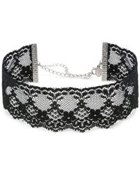 2028 - Metallic Silver-tone Black Lace Choker Necklace - Lyst