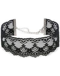 2028 | Metallic Silver-tone Black Lace Choker Necklace | Lyst