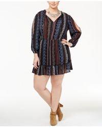 Jessica Simpson   Multicolor Trendy Plus Size Printed Peasant Dress   Lyst