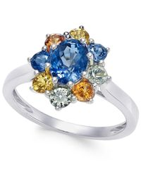 Macy's | Metallic Multi-sapphire Floral Ring (2 Ct. T.w.) In 14k White Gold | Lyst