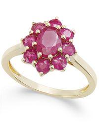 Macy's | Metallic Ruby Cluster Ring (2 Ct. T.w.) In 14k Gold | Lyst