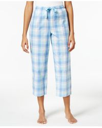 Charter Club | Blue Cotton Plaid Cropped Pajama Pants | Lyst