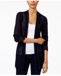 Style & Co. | Blue Open-front Pointelle-knit Cardigan | Lyst