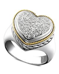 Effy Collection | Metallic Balissima By Effy Diamond Diamond Heart Ring (1/5 Ct. T.w.) In 18k Gold And Sterling Silver | Lyst