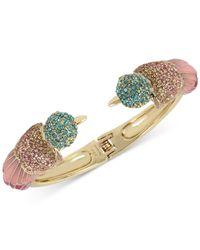 Betsey Johnson | Metallic Gold-tone Multi-crystal Bird Hinged Bangle Bracelet | Lyst