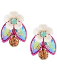 Betsey Johnson | Metallic Gold-tone Multi-stone Garden Motif Ear Jacket Earrings | Lyst