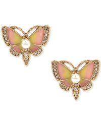 Betsey Johnson | Metallic Gold-tone Multi-stone Butterfly Stud Earrings | Lyst