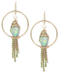 Betsey Johnson | Metallic Gold-tone Multi-stone Bird Drop Hoop Earrings | Lyst