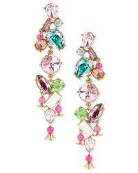 Betsey Johnson | Multicolor Gold-tone Multi-crystal Linear Drop Earrings | Lyst