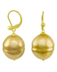 Majorica | Yellow 18k Gold Over Sterling Silver Earrings, Organic Man-made Baroque Pearl | Lyst