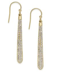 kate spade new york | Metallic 14k Gold-plated Pavé Linear Drop Earrings | Lyst