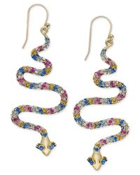 kate spade new york | Metallic 14k Gold-plated Colored Crystal Snake Drop Earrings | Lyst