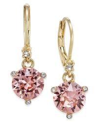 kate spade new york | Metallic Gold-tone Pavé & Pink Cubic Zirconia Drop Earrings | Lyst