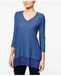 Vince Camuto - Blue Layered-look V-neck Top - Lyst
