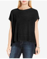 Vince Camuto | Black Two By Extended Sleeve Mixed Media Shirttail Tee | Lyst
