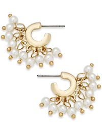 INC International Concepts | Metallic Gold-tone Imitation Pearl Small Shaky Hoop Earrings | Lyst