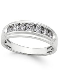 Macy's | Metallic Men's Diamond Band (3/4 Ct. T.w.) In 10k White Gold for Men | Lyst