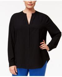 Anne Klein | Black Plus Size V-neck Blouse | Lyst