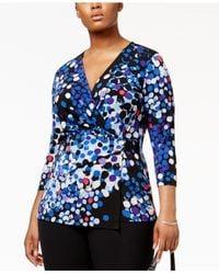 Anne Klein | Blue Plus Size Printed Faux-wrap Top | Lyst