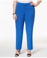 Anne Klein | Blue Plus Size Straight-leg Pants | Lyst