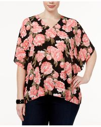 INC International Concepts | Pink Plus Size Floral-print Batwing-sleeve Top | Lyst