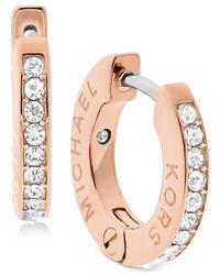 Michael Kors | Pink Pavé Engraved Hoop Earrings | Lyst
