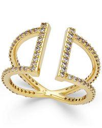 Danori | Metallic Cubic Zirconia Parallel Pavé Ring In 18k Gold-plated Brass | Lyst