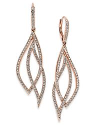 Danori | Metallic Rose Gold-tone Laurel Pavé Drop Earrings | Lyst
