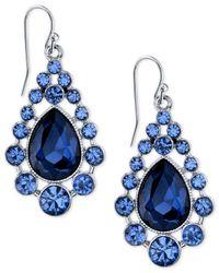 2028 | Metallic Silver-tone Caged Crystal Teardrop Earrings | Lyst