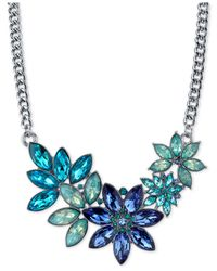 2028 - Metallic Silver-tone Floral Crystal Necklace - Lyst