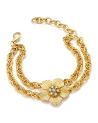 Charter Club - Metallic Gold-tone Flower Crystal Double Chain Link Bracelet - Lyst