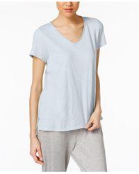 Eileen Fisher | Blue Organic Cotton V-neck T-shirt | Lyst