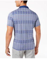 Alfani - Blue Men's Inverse-stripe Open-collar Polo for Men - Lyst