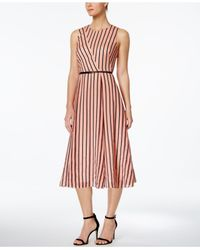 Calvin Klein | Red Belted Striped Midi Fit & Flare Dress | Lyst