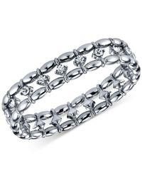 2028 - Metallic Silver-tone Crystal Stretch Bracelet - Lyst