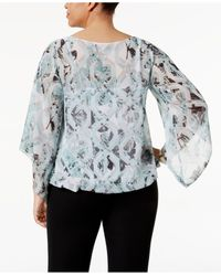 Alfani - Multicolor Plus Size Bell-sleeve Printed Blouse - Lyst