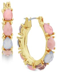 Nine West | Metallic Gold-tone Multicolor Stone Hoop Earrings | Lyst