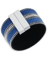 Guess - Metallic Silver-tone Blue Faux Suede Magnetic Wrap Cuff Bracelet - Lyst