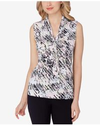 Tahari | Multicolor Abstract-print Tie-neck Top | Lyst