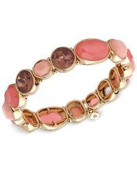 Nine West | Metallic Gold-tone Red Stone Stretch Bracelet | Lyst