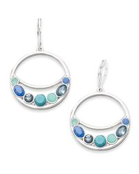 Nine West | Silver-tone Blue Stone Orbital Earrings | Lyst