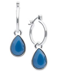 Nine West | Blue Silver-tone Crystal Slider Hoop Earrings | Lyst