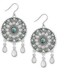 Lucky Brand - Metallic Silver-tone Blue & Clear Stone Circular Drop Earrings - Lyst