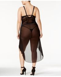 Inspire Psyche Terry - Black Plus Size Asymmetrical-hem Mesh Nightgown And Thong Ipts050-1 - Lyst