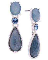 Anne Klein - Metallic Silver-tone Denim Blue Stone Drop Earrings - Lyst